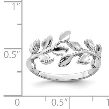 14K White Polished Leaf Ring