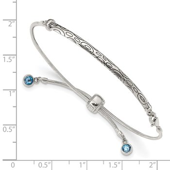 Sterling Silver Blue Swarovski Crystal Rd Bezel Adjustable Bracelet