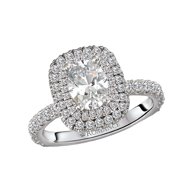 Diamond Halo Semi Mount Engagement Ring