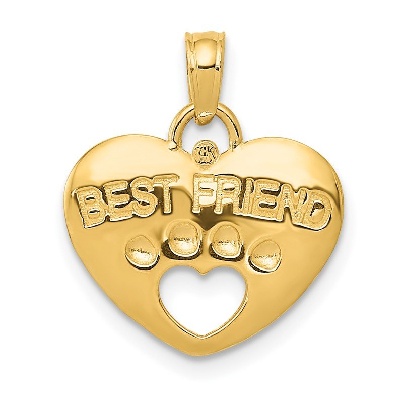 Quality Gold 14K BEST FRIEND on Heart with Cut-Out Paw Pendant