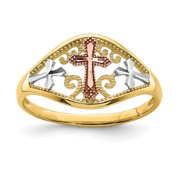 14K Two-tone with White Rhodium Cross Ring