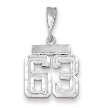 14k White Gold Small Diamond-cut Number 63 Charm