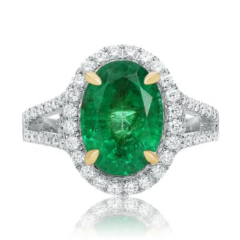 Oval Cut Emerald Halo Ring