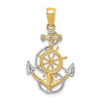 14K Two-Tone w/ Rhodium Anchor w/Rope Pendant