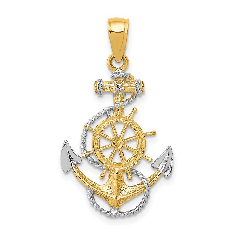 Quality Gold 14K Two-Tone w/ Rhodium Anchor w/Rope Pendant