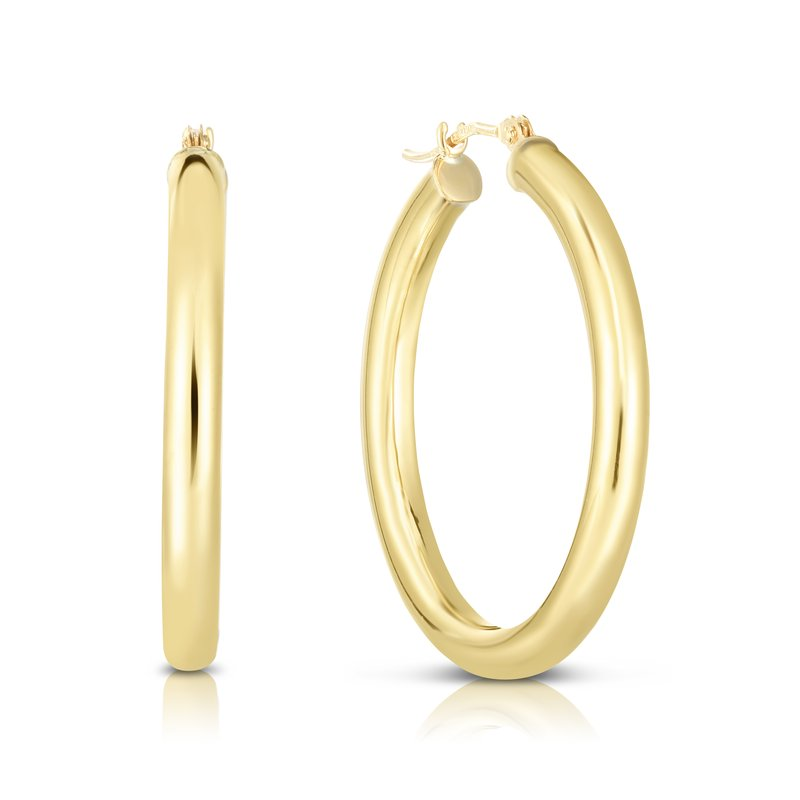 Royal Chain 10K Gold 3x30mm Hoop Earring