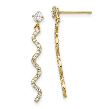 14K CZ Wave Dangle Post Earrings