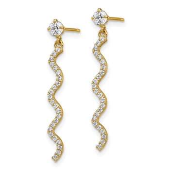 14K CZ Wavy Dangle Post Earrings