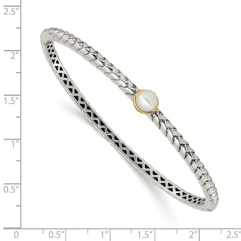 Shey Couture Sterling Silver w/14k 6mm FW Cultured Pearl Bangle Bracelet