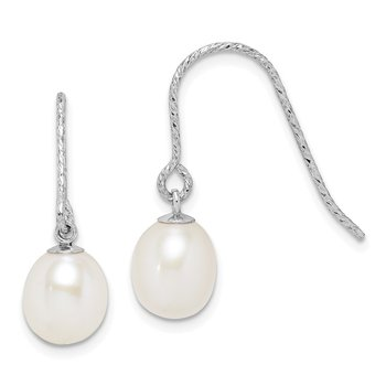 Sterling Silver Rhod-plat 6-7mm White Rice FWC Pearl Dangle Earrings