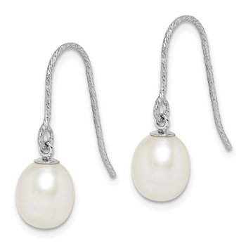 Sterling Silver Rhodium-plated 6-7mm White Rice FWC Pearl Dangle Earrings