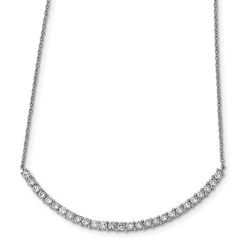 Cheryl M Sterling Silver CZ Bar 18in Necklace
