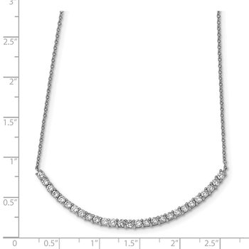 Cheryl M Sterling Silver Rhodium Plated CZ Bar 18in Necklace
