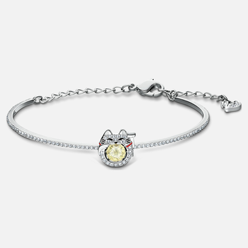 Swarovski Sparkling Dance Cat Bangle, Light multi-colored, Rhodium plated