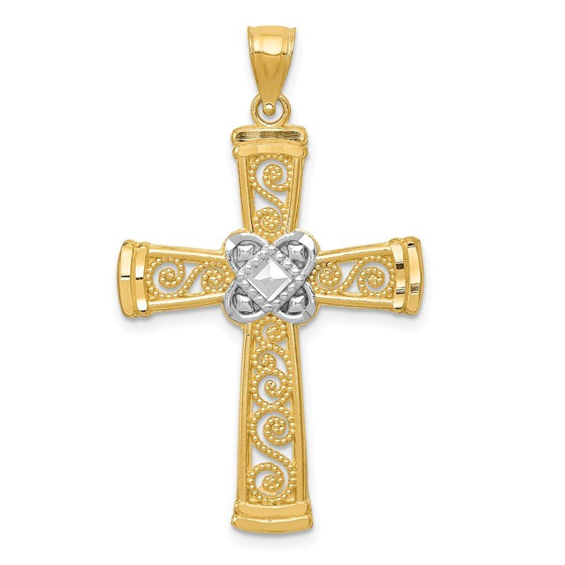 Quality Gold 14k w/Rhodium Diamond-cut Filigree Cross Pendant