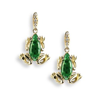 Green Frog Stud Earrings.18K -Diamonds