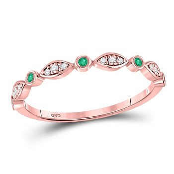 10kt Rose Gold Womens Round Emerald Diamond Marquise Dot Stackable Band Ring 1/8 Cttw