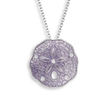 Purple Sand Dollar Necklace.Sterling Silver-White Sapphire