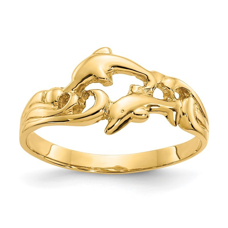 Quality Gold 14K Double Dolphins with Waves Ring