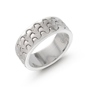 Catch the wave with this 9mm white gold interlock center band