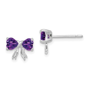 14k White Gold Polished Amethyst Bow Post Earrings