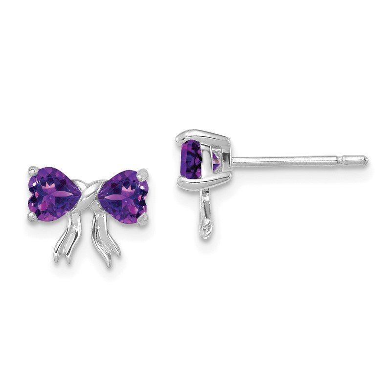 Quality Gold 14k White Gold Polished Amethyst Bow Post Earrings