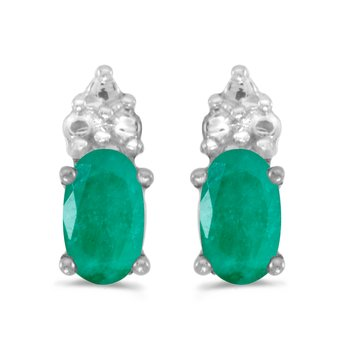 10k White Gold Oval Emerald Earrings