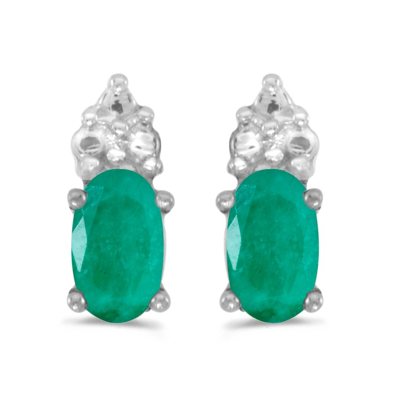Color Merchants 10k White Gold Oval Emerald Earrings