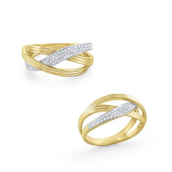 Interwoven Diamond Ring Set in 14 Kt. Gold