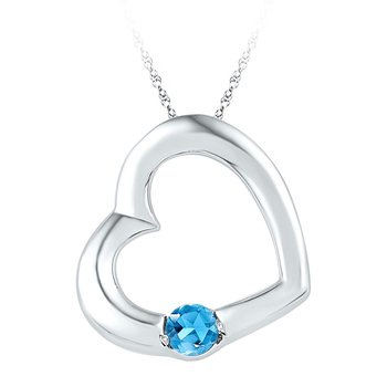Sterling Silver Womens Round Lab-Created Blue Topaz Heart Pendant 1/6 Cttw