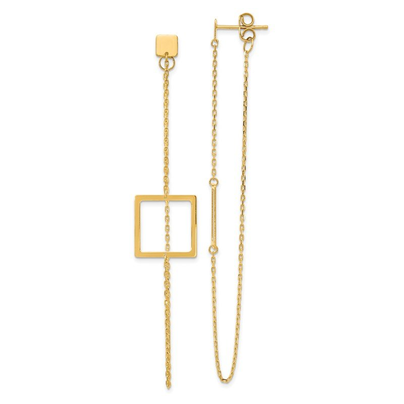 Quality Gold 14K Square Post Dangle Earrings
