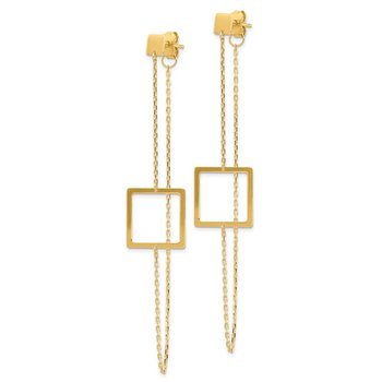 14K Square Post Dangle Earrings