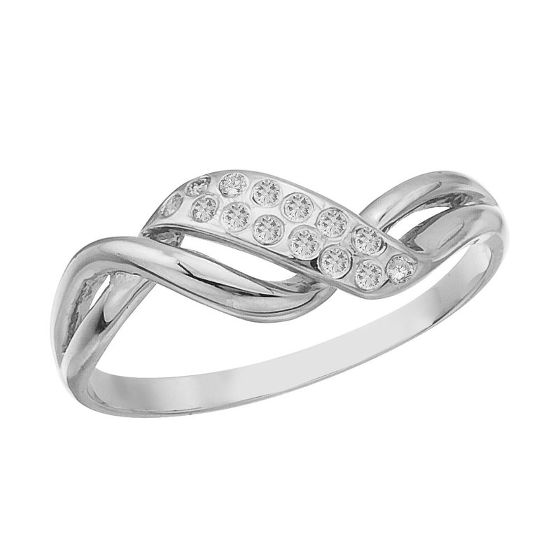 Color Merchants 14K White Gold and Diamond Promise Ring