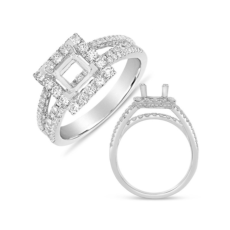 S. Kashi & Sons Bridal White Gold Halo Ring  5.5mm square