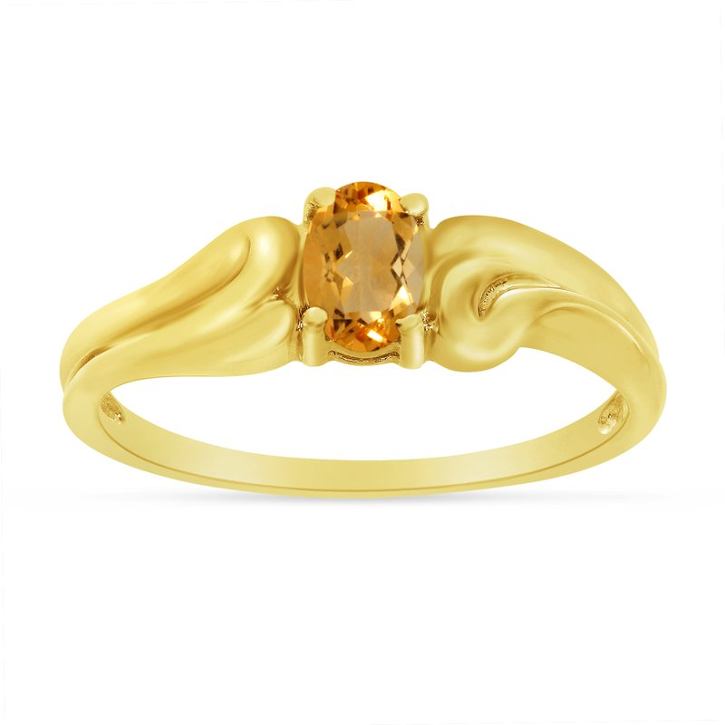 Color Merchants 14k Yellow Gold Oval Citrine Ring