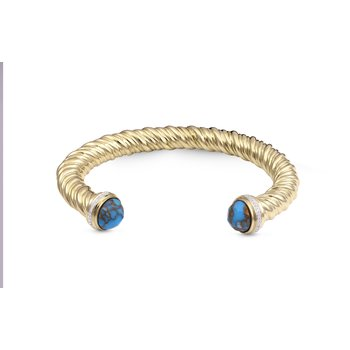 LuvMyJewelry Summer Nights Turquoise & Diamond Cuff in Sterling Silver & 14 KT Yellow Gold Plating