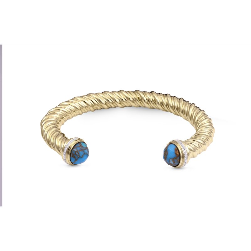 Luv My Jewelry LuvMyJewelry Summer Nights Turquoise & Diamond Cuff in Sterling Silver & 14 KT Yellow Gold Plating