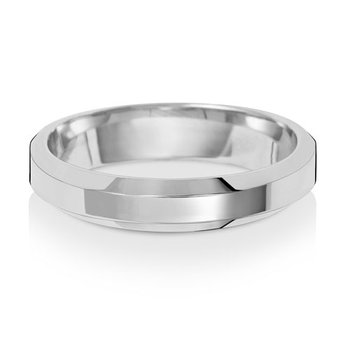 Platinum 4mm Soft Court Bevelled Wedding Ring