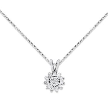 Diamond Fashion Necklace in 14k White Gold with 12 Diamonds weighing .25ct tw.
