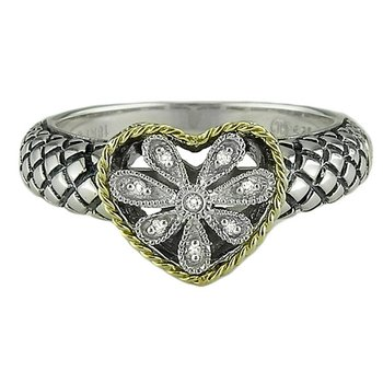 18kt and Sterling Silver Heart Antique Flower Diamond Ring