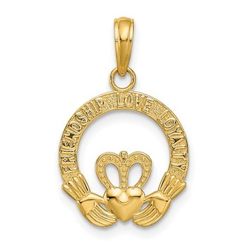 14k Satin Diamond-cut Flat-Backed Claddagh Pendant