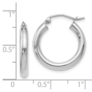 Leslie's 10K White Gold Polished Hinged Hoop Earrings