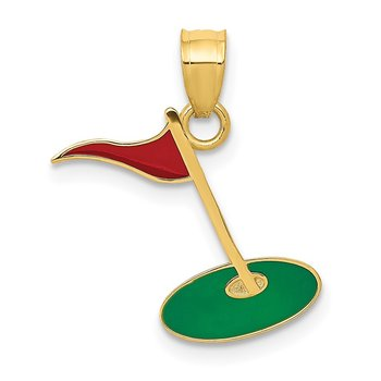 14k Enameled Golf Flag on Green Charm
