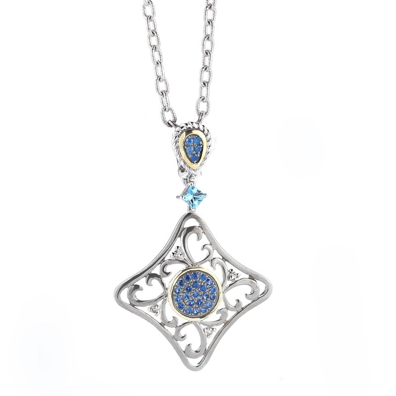Shula NY Sterling Silver and 14K Yellow Gold Diamond, Semi-Precious Stones, and Sapphire Pendant