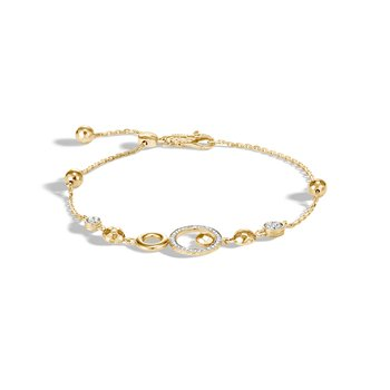 Dot Pull Through Bracelet in 18K Gold with Diamonds