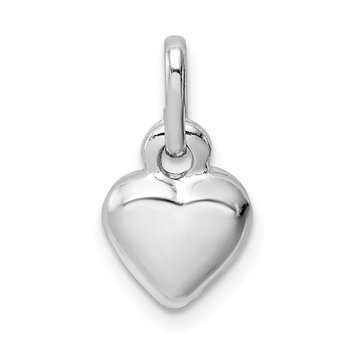 Sterling Silver Rhodium Plated Puffed Heart Charm