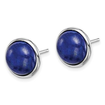 Sterling Silver Rhodium-plated 10mm Lapis Cabochon Post Earrings