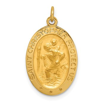 14k Solid Polished/Satin Small Oval St. Christopher Medal