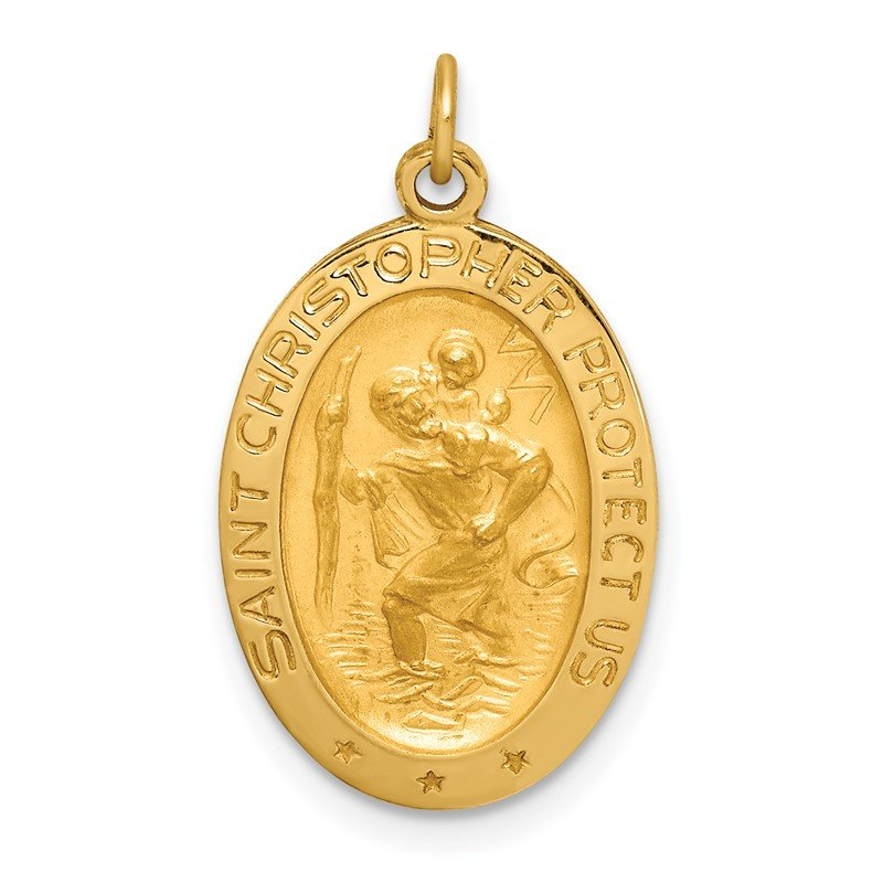 Quality Gold 14k Solid Polished/Satin Small Oval St. Christopher Medal