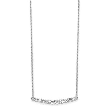 Sterling Silver Rhodium-plated CZ Bar w/ 2in ext. Necklace
